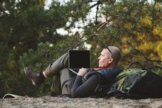 Elderly man tourist use laptop in forest , #Ad, #man, #Elderly, #tourist, #forest, #laptop #Ad