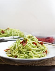 Spinach and Broccoli Pesto Spaghetti