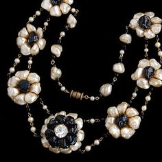 French Louis Rousselet glass pearl cluster necklace