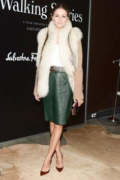At @Salvatore Ferragamo Walking Stories premiere, Olivia Palermo bundled up in a plush fur vest.
