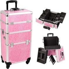 Rolling Makeup Cosmetic Pink Luggage Case Train Storage Beauty Nail Gel Polish. Beautiful new Pink crocodile printing texture with silver aluminum trimming. Heat resistant exterior material keeps the case cool and protects your cosmetics. Cosmetic Pink Cute Hot Luggage Makeup Case Travel Storage Beauty Nail Gel Polish. Click the following link now for more information: http://www.shoppingsated.com/store/p13/Makeup_Train_Travel_Case_.html