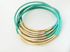 Mint Leather Bangle Bracelets with Silver or Gold tubes