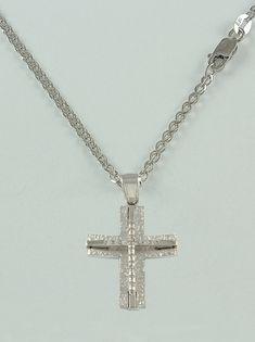 Σταυρός βάπτισης διπλής όψεως λευκόχρυσος με αλυσίδα, 14 καράτια, κορίτσι, Κωδικός WS250