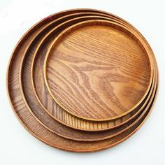 "10""; $15; Natural Wood Serving Tray Tea Food Server  Dishes Platter Round Wooden Plate  #Unbranded"