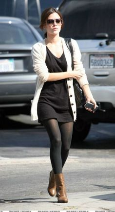 long cardi + sweater dress + black tights + ankle boots + needs statement necklace or scarf