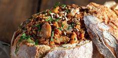 Bacalhau no Pão Bacalhau Recipes, Portuguese Recipes, Portuguese Food, Cod Fish, Baked Potato, Appetizers, Bread, Cooking, Ethnic Recipes