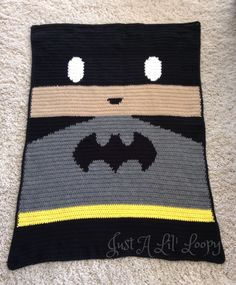 This listing is for a finished Batman Afghan. Handmade for your decor, this afghan is approximately 3.5 ft x 4.5 ft which is perfect size for baby