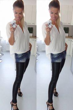Štýlové nohavice kombinované riflovinou a ekokožou, vhodné na každodenné nosenie.100 % polyuretán