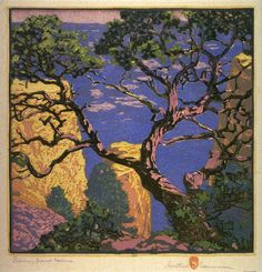 """""""Pinon - Grand Canyon,"""" Gustave Baumann, 1921, color woodcut, 12 3/4 x 12 3/4"""" private collection."""