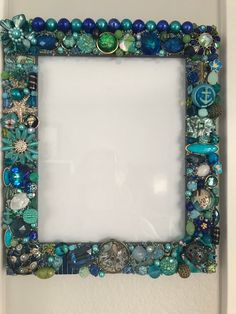Jeweled embellished 8x10 Frame beach & nautical theme with lots of bling. Blue/Green/Gold
