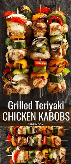 Quick and Easy Grilled Teriyaki Chicken Kabobs with items you probably already h. - Quick and Easy Grilled Teriyaki Chicken Kabobs with items you probably already have in your pantry! Chicken Shish Kabobs Marinade, Grilled Chicken Kabobs, Grilled Chicken Recipes, Chicken Kebab, Shish Kebab, Chicken Dips, Baked Chicken, Summer Grilling Recipes, Appetizer Recipes