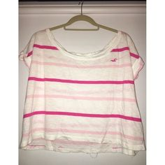 Hollister Tee White, and pink striped loose t-shirt! Good condition and great for summer! Hollister Tops Tees - Short Sleeve