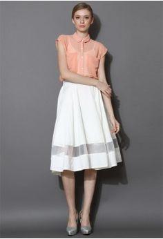 Organza Panel Midi Skirt in White - Bottoms - Retro, Indie and Unique Fashion