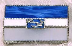 "Blue Stained Glass Nautical Jewel Box w/ Anchor Design - 4"" x 6"" - To see this and more, visit us at www.AccentOnGlass.com"
