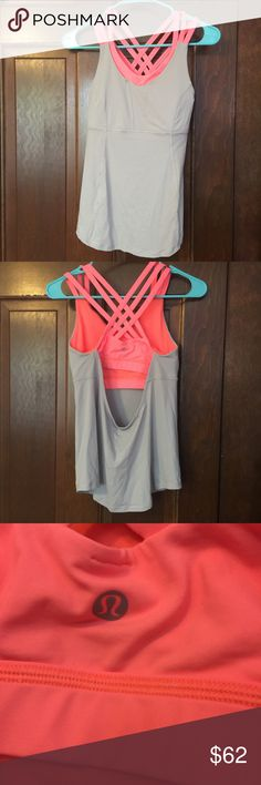Lululemon Tank-Top With Built-in Sports Bra This is a Lululemon tank top with a sports bra inside. Perfect for workouts. Only worn one time. Like new. lululemon athletica Tops Tank Tops