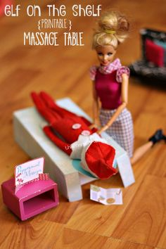 Ready for some fun, fresh ideas for your scout elf? This printable Elf on the Shelf idea will leave them wow-ed and giggling when they see the Elf massage table!