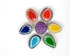 Rainbow Flower for Kids, Beach Pebbles with Magnets by HappyEmotions, Gift Ideas, Sea Stones, Educational Toys, Rocks