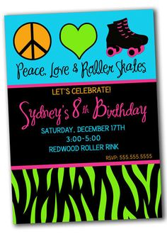 Neon Peace Love & Roller Skates Birthday Party Invitation PRINTABLE. $10.00, via Etsy.