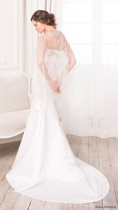 rania hatoum bridal spring 2017 sheer cape beaded bateau neck mermaid wedding dress (dakota) bv train