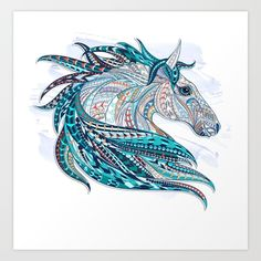 horse, ethnic, tribal, aztec, mandala, blue, white, colorful, watercolor