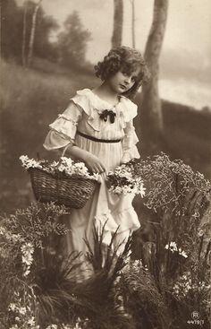 Edwardian BEAUTY girl in garden with flower basket photo postcard 1910's | eBay