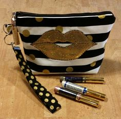 LipSense distributors wristlet bag, purse, pouch, case, gold & black strips, polk a dots,  holds  24 lipsticks and additional supplies by jewellgem on Etsy