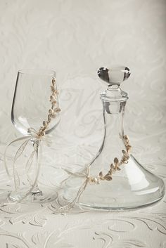 Lovely vintage style glass and decanter for wine with porcelain flowers, Ποτήρι και καράφα κρασιού διακοσμημένα με πορσελάνινα λουλουδάκια #stefanagamou #stefana #weddingcrowns Greek Wedding Traditions, Party Planning, Wedding Planning, Orthodox Wedding, Best Friend Wedding, Wedding Glasses, Mothers Dresses, Wine Decanter, Traditional Wedding