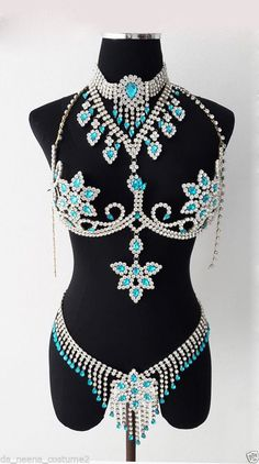 BRA7 Stripper Burlesque Large Crystal Bra Belt Skirt by DaNeeNa, $585.00