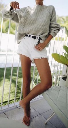 #winter #outfits gray sweater and white miniskirt