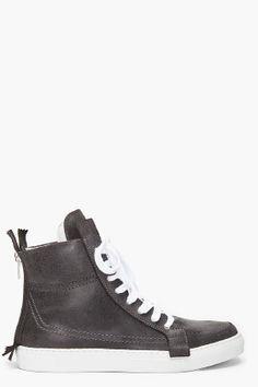 Kris Van Assche Charcoal Leather Sneakers for men | SSENSE