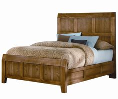 Vaughan Bassett Furniture: Timber Mill King-Size Wood Timber Panel Bed With Reclaimed Look #reclaimedwood #bedroom