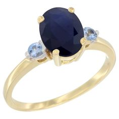 10K Yellow Gold Natural Blue Sapphire Ring Oval 9x7 mm Light Blue Sapphire Accent, size 5, Women's