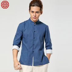 traditional to modern Chinese fashion - Fabulous Frog Button Stand-up Collar Jacket - Dark Blue - Chinese Jackets & Coats - Men