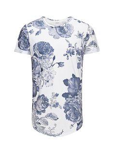 PREMIUM by JACK & JONES - T-Shirt von PREMIUM - Slim fit - Lange Passform - Umschlagdetails - Komplett bedruckt 70% Polyester, 30% Baumwolle...