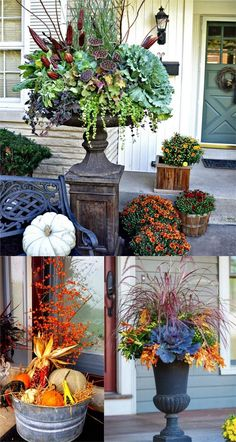 22 Beautiful Fall Planters for Easy Outdoor Fall Decorations - 22 gorgeous fall planters for Thanksgiving & fall decorations: best fall flowers for pots, & great - Outside Planters, Fall Planters, Outdoor Planters, Garden Planters, Planter Pots, Outdoor Decor, Fall Containers, Succulent Containers, Container Flowers