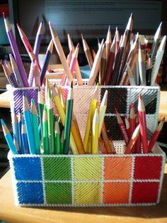 #papercraft #craft supply #organization  Plastic Canvas Pencil Crayon holder