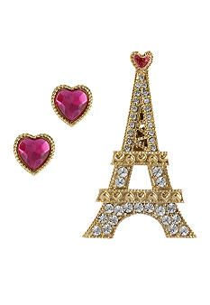 Betsey Johnson Eiffel Tower Pin and Crystal Heart Stud Earring Set in a Betsey Johnson Pink Leopard Gift Box #belk #accessories