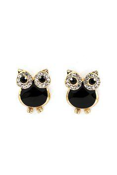 Jet Crystal Owl Earrings on Emma Stine Limited