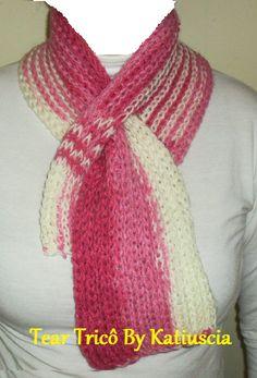 Mini cachecol mescla rosa,tear de tricô
