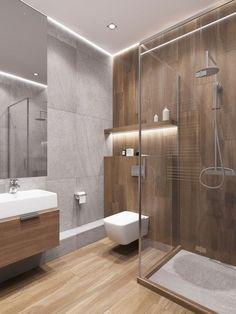 Amazing DIY Bathroom Ideas, Bathroom Decor, Bathroom Remodel and Bathroom Projects to help inspire your master bathroom dreams and goals. Wood Tile Shower, Wood Bathroom, Bathroom Layout, Modern Bathroom Design, Bathroom Colors, Bathroom Interior Design, Home Interior, Bathroom Lighting, Bathroom Ideas