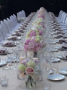 Long table - Home Page Elegant Bridal Shower, Bridal Shower Decorations, Wedding Decorations, Wedding Table Centerpieces, Floral Centerpieces, Flower Arrangements, Dinner Set Design, Sweetheart Table Decor, Do It Yourself