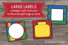 Decorate your party with style and easy, with our fun LEGO party decor printable pack. Lego Classroom Theme, Lego Decorations, Decorated Gift Bags, Green Tea And Honey, Preschool Rooms, Lego Parts, Bar Mitzvah, Party Printables, Avengers