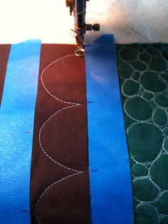 """Marking areas for stitching with painter's tape...great for those """"straight"""" lines and proper spacing too."""