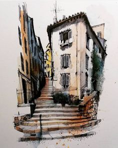 Gorgeous watercolors illustrations by Ian Fennelly Landscape Drawings, Architecture Drawings, Pen And Watercolor, Watercolor Paintings, Watercolours, City Sketch, Arte Pop, Urban Sketchers, Sketch Painting