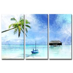 Bay Isle Home 'Tropical' - 3 Piece Wrapped Canvas Graphic Art Print Set Canvas Art Prints, Canvas Wall Art, 3 Piece Canvas Art, Canvas Paintings, Watercolor Paintings, Blue Canvas, Ocean Canvas, Wall Art Sets, Online Art Gallery