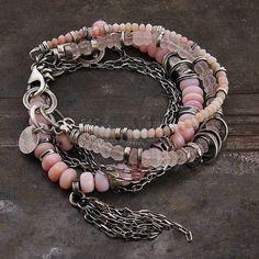 pink opal & rose quartz bracelets, set of the two bracelets, handmade of oxidized silver (925), 100 %, signed,© ewa lompe D E T A…