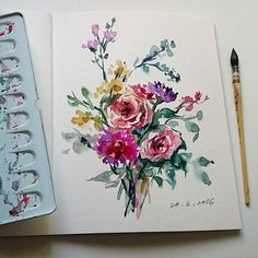 Another 10-min painting, video uploaded https://youtu.be/UjAyVgSc4Nk #watercolourflowers #watercolor #painting