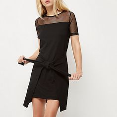 Black mesh tied front T-shirt dress - t-shirt dresses - dresses - women