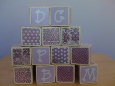 Purple Shabby Chic Building Blocks. $32.95, via Etsy.