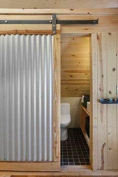 Corrugated metal barn door diy ideas for 2019 Wall Design, House Design, Door Design, Corrugated Tin, Cabin Bathrooms, Metal Barn, Metal Fence, Interior Barn Doors, Interior Walls